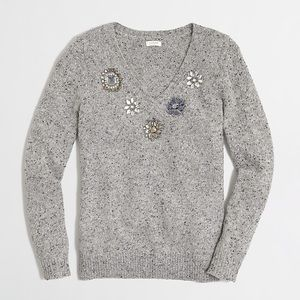 J. Crew Factory Donegal Jeweled Sweater